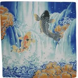 Furoshiki 50x50 bleu - motifs de carpes