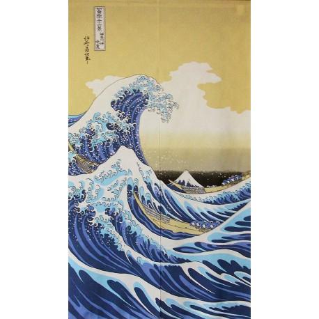 Noren en polyester - Grande vague d'Hokusaï