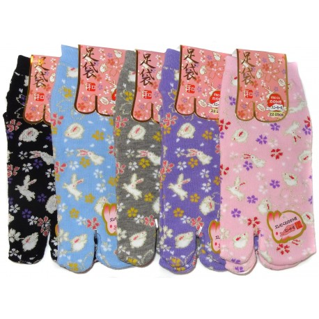 Tabi socks - Size 35 to 39 - Rabbits and flowers prints