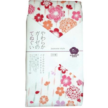 Serviette en gaze 90x34 cm - Fleurs de cerisiers et chrysanthèmes