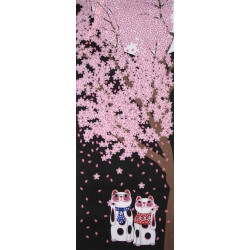 Tenugui Collection Fuku Neko - Yozakura