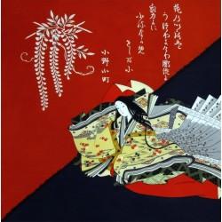 Furoshiki 67x67 blue and red - Hime print
