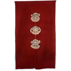 Brick red cotton Noren - Sanzaru