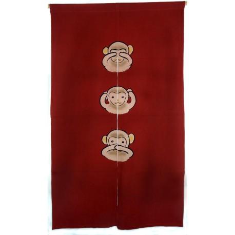 Brick red cotton Noren - Sanzaru - The three wise monkeys
