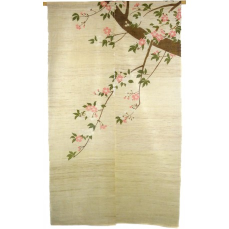 Hemp natural color Noren - Sakura cherry blossoms branch