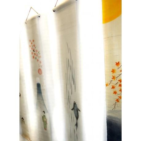 Tapisserie étroite suspendue - Koi nobori (carpe remontant une cascade).