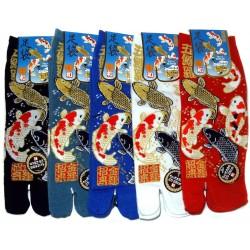 Chaussettes japonaises tabi - Du 39 au 43 - Motifs carpes Koi