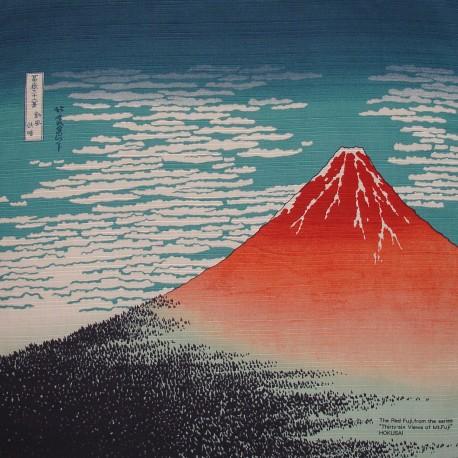Furoshiki 50x50 bleu - Gaifû kaisei d'Hokusaï - tissu japonais