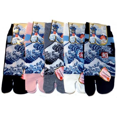 Chaussettes japonaises Tabi - Du 35 au 39 - Grande vague d'Hokusaï - Chaussettes tabi à oreil