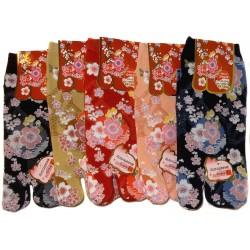 Chaussettes japonaises Tabi - Du 35 au 39 - Fleurs de prunier.