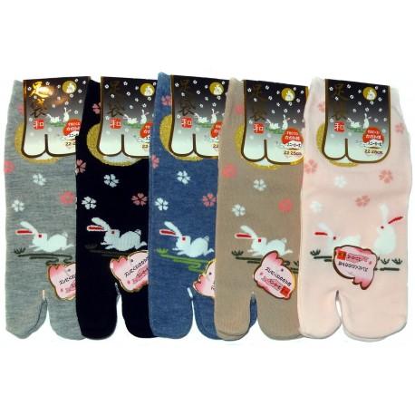 Chaussettes japonaises Tabi - Sakura et Tsuki no Usagi - Chaussettes orteils séparés