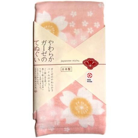 Serviette en gaze 90x34 cm - Imprimé fleurs de cerisiers