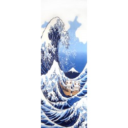 Tenugui Collection Fuku Neko - Grande vague d'Hokusaï