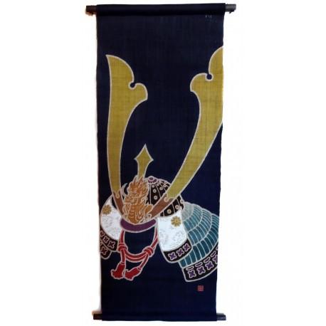 Japanese interior : hanging tapestry - Kabuto - 45x120