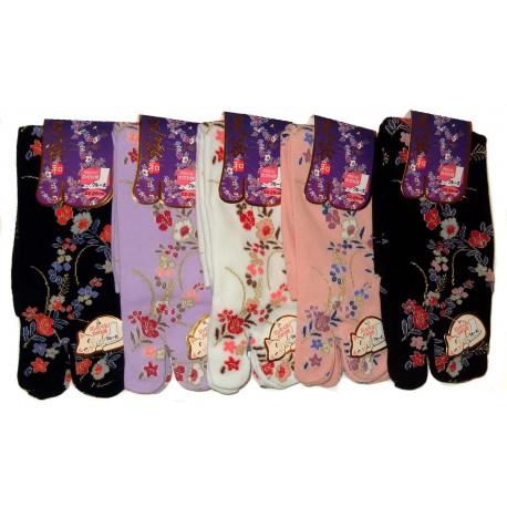 Chaussettes Tabi mi-mollet - Du 35 au 39 - Motifs floraux. Chaussettes doigts à orteils séparés
