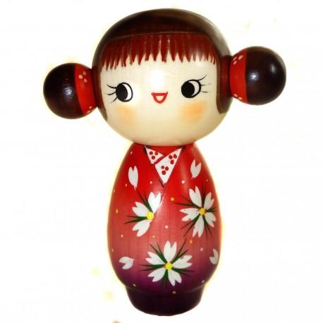 Poupée Kokeshi - Parfums de Sakura. Poupée japonaise traditionnelle en bois.