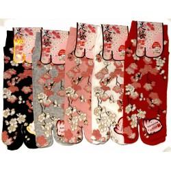 Chaussettes japonaises Tabi - Du 35 au 39 - Motifs de fleurs de cerisier