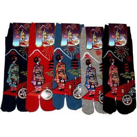 Tabi socks - Size 39 to 43 - Daimonji Maiko. Flipflop split toes socks.