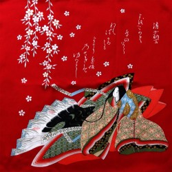 Furoshiki 67x67 rouge - motifs de Hime