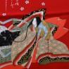 Furoshiki 67x67 rouge - motifs de Hime. Tissu et textile japonais d'emballage.