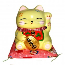 Yellow Maneki Neko piggy bank - 11.5 cm