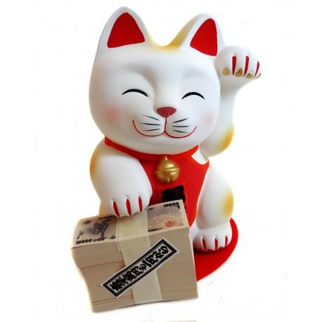 Tirelire chat porte bonheur Maneki Neko blanc - 13 cm