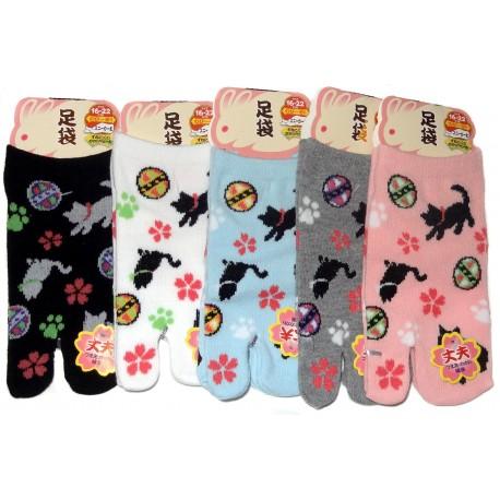 Chaussettes tabi japonaises enfants - Pointure 26 à 35 - Motifs de chats et temari