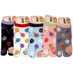 Kid's Tabi socks -  Cats and Temari - Size 26 to 35