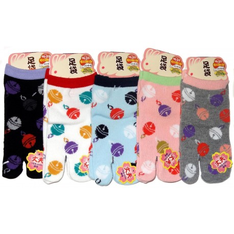 Kid's Japanese Tabi socks -  Cats and Temari - Size 26 to 35