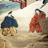 Ceinture de kimono Fukuro Obi champagne **RARE** motifs de scène féodale