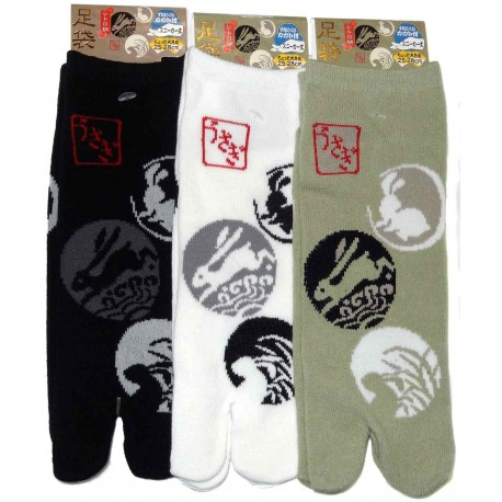 Tabi socks Size 39 to 43 - Usagi Kamon prints. Split toes socks
