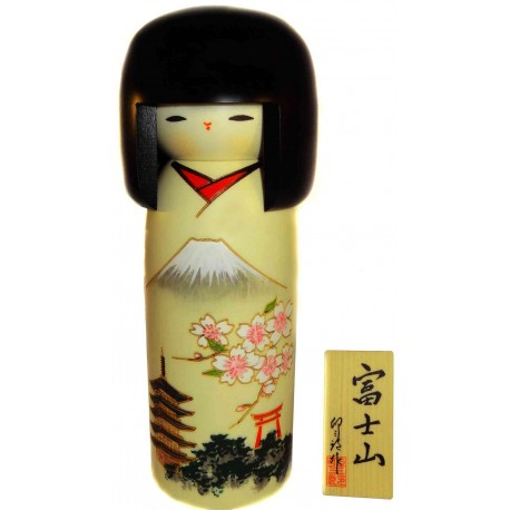 Kokeshi doll - Mount Fuji. Traditional Japanese wooden dolls.