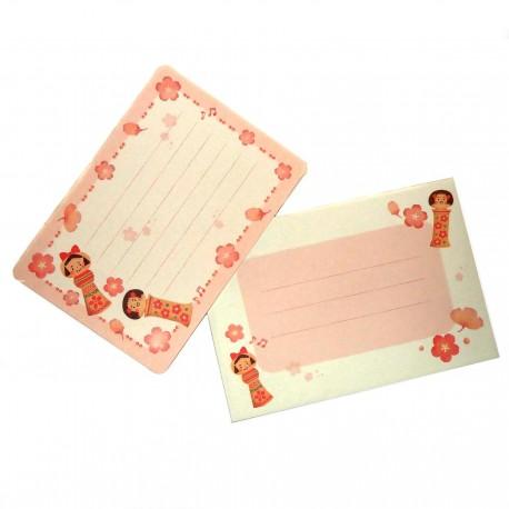 Mini set lettres Kokeshi. Articles de papeterie japonaise.