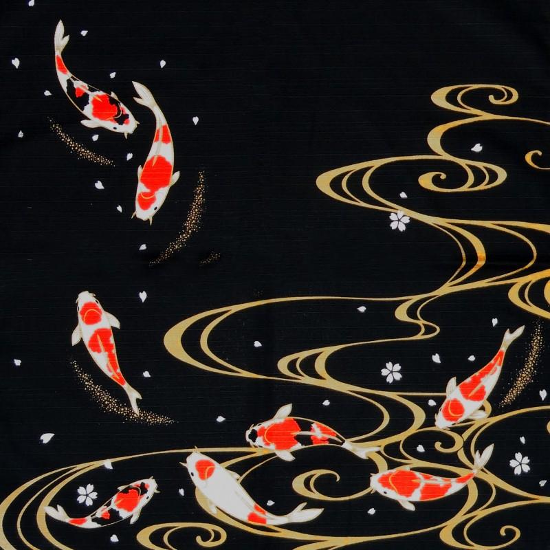 Furoshiki 50x50 noir carpes koi tissu japonais for Bebe carpe koi noir