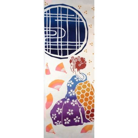 Tenugui réversible - Maiko. Tissu et textile japonais.