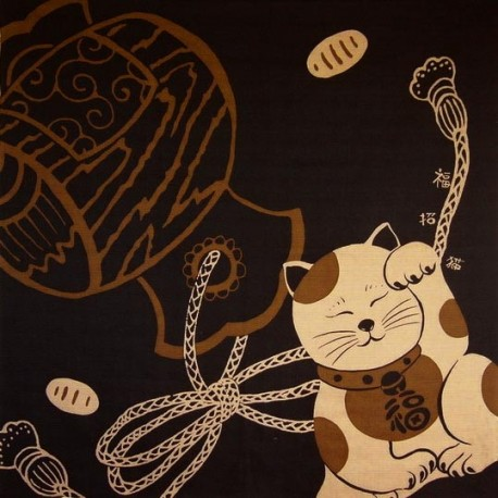 Furoshiki 90x90 brown - Maneki Neko. Japanese cloth and textile.