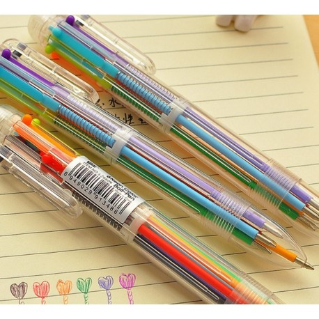 Stylo bille 6 couleurs