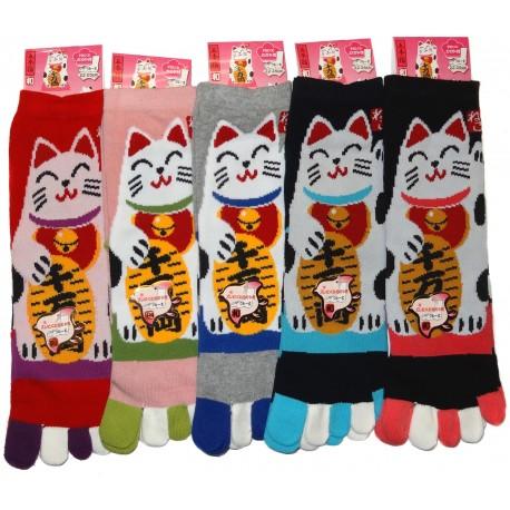 Crew 5-toes socks - Size 35 to 39 - Manekineko print