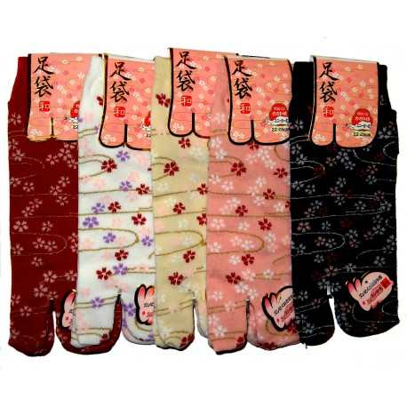 Japanese Tabi split toes socks - Size 35 to 39 - Sakura prints