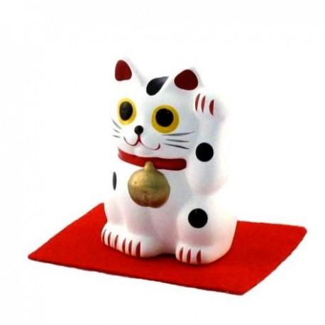 Maneki Neko chat porte-bonheur blanc - Patte gauche - 5cm