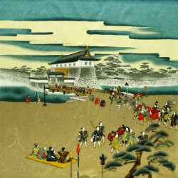Furoshiki 67x67 - Bronze - Feodal scenery print