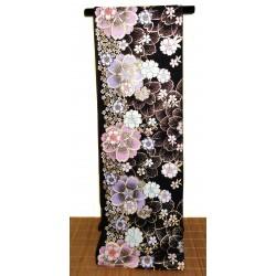 Fukuro obi noir en soie - motifs Sakura