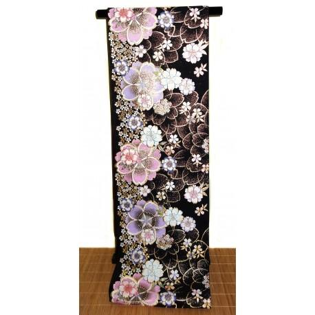 Black silk fukuro obi kimono belt - Sakura motifs