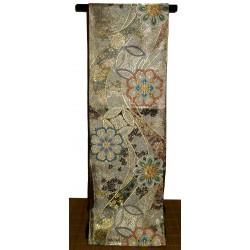 Golden silk fukuro obi - Flowers motifs