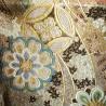 Golden silk kimono belt fukuro obi - Flowers motifs