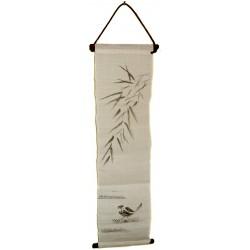 Mini tapisserie suspendue - Moineau et Bambous