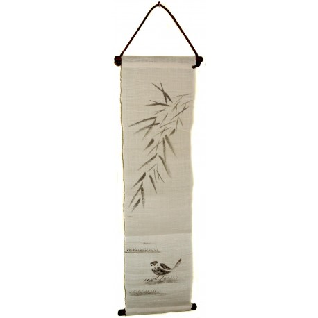 Mini hanging tapestry - Sparrow and Bamboo