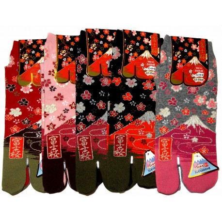 Japanese Tabi split toes socks - Size 35 to 39 - Mount Fuji and sakura cherry blossoms