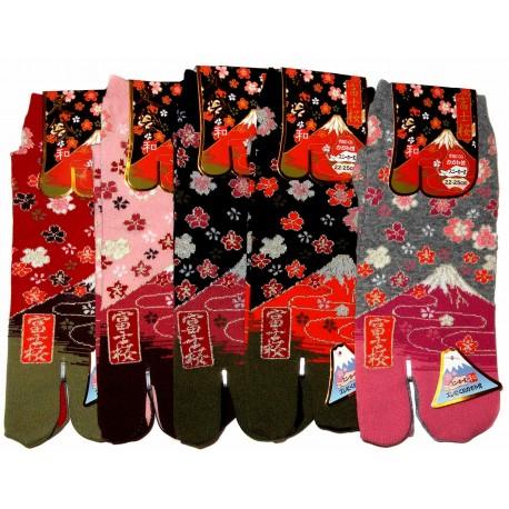 Chaussettes Tabi - Du 35 au 39 - Mont Fuji et fleurs de cerisier Sakura. Chaussettes à orteils.