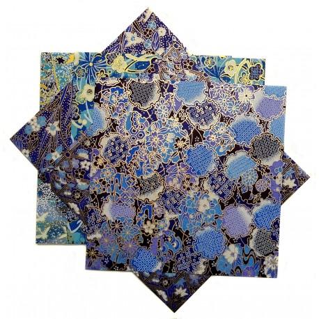 Japanese yuzen washi paper 15 x 15 cm - 5 origami sheets